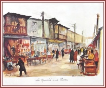 Painting of the Flea market in 1953